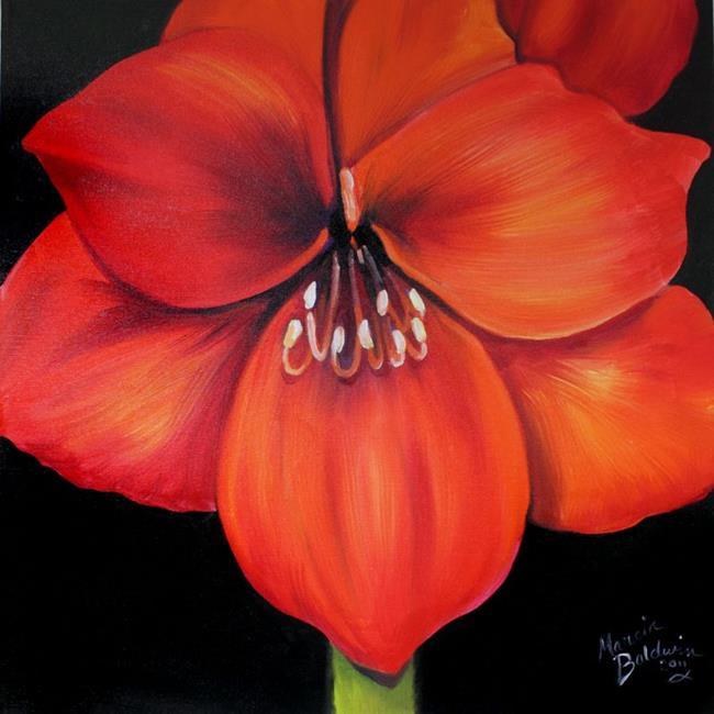Art: FLAME AMARYLLIS by Artist Marcia Baldwin