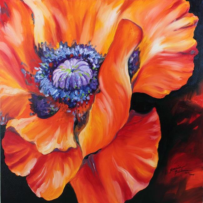 Art: HEART of a red POPPY by Artist Marcia Baldwin