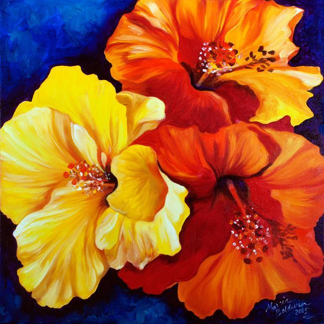 Art: HIBISCUS TRIO by Artist Marcia Baldwin