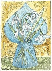 Art: Snowdrops in an Antique Jersey Glass Vase by Artist Theodora Demetriades