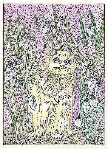Art: Little White Kitty in the Snowdrop Garden Bed by Artist Theodora Demetriades