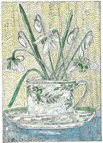 Art: TEA CUP FULL OF SNOWDROPS by Artist Theodora Demetriades