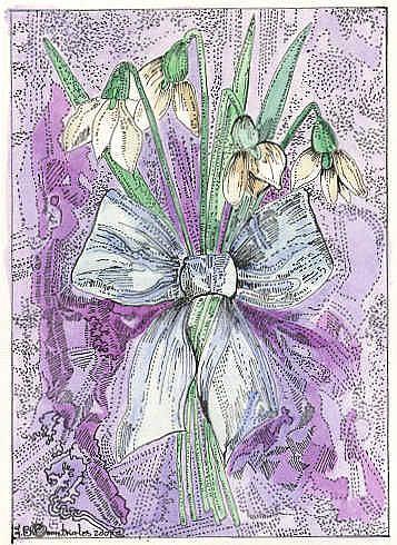 Art: Bouquet of Snowdrops by Artist Theodora Demetriades