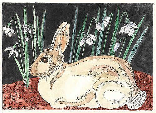 Art: SNOWDROPS AND BUNNY by Artist Theodora Demetriades