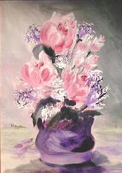 Art: ROSES ON LAVENDAR by Artist Gail Meyer