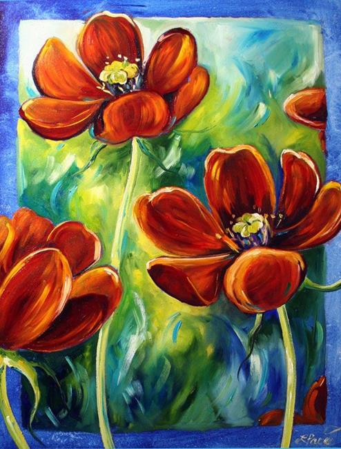 Art: Dad's Red Flowers by Artist Laurie Justus Pace