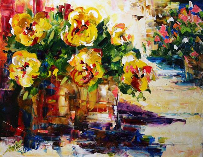Art: Pot of Pansies by Artist Laurie Justus Pace