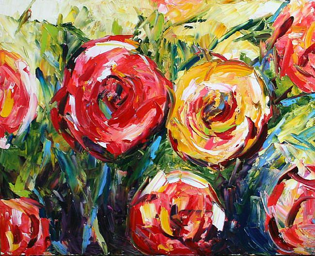 Art: anniversary roses by Artist Laurie Justus Pace