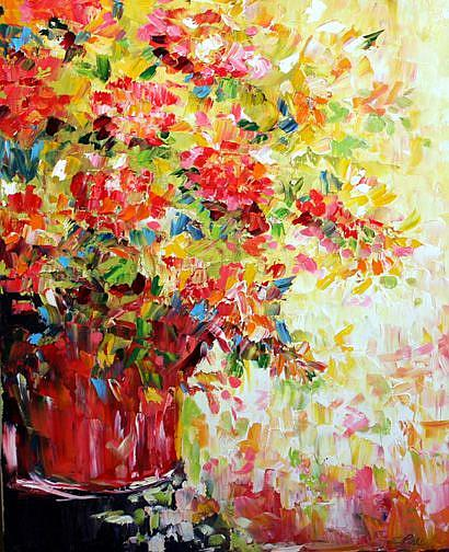 Art: Red Flowers on Yellow by Artist Laurie Justus Pace