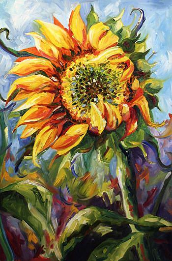 Art: Sunflower Study Hwy 287 by Artist Laurie Justus Pace
