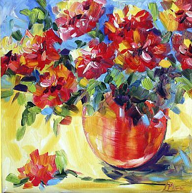 Art: Red Blooms by Artist Laurie Justus Pace