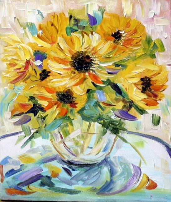 Art: Sunflowers in a Vase by Artist Laurie Justus Pace