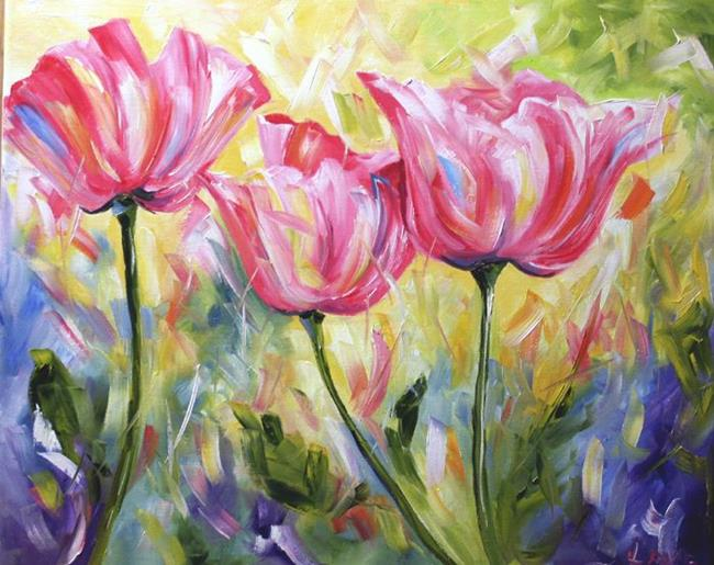 Art: Three Pink Poppies by Artist Laurie Justus Pace