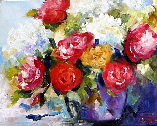 Art: Rose and Hydrangea by Artist Laurie Justus Pace