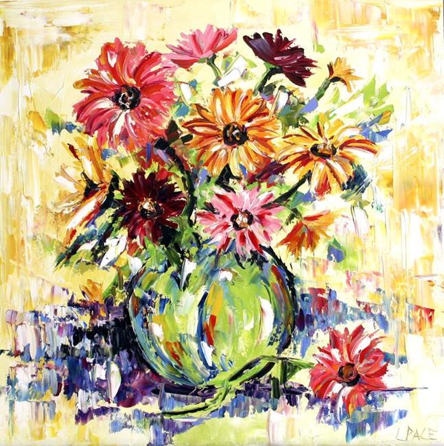 Art: Vase of Gerbera Daisies by Artist Laurie Justus Pace