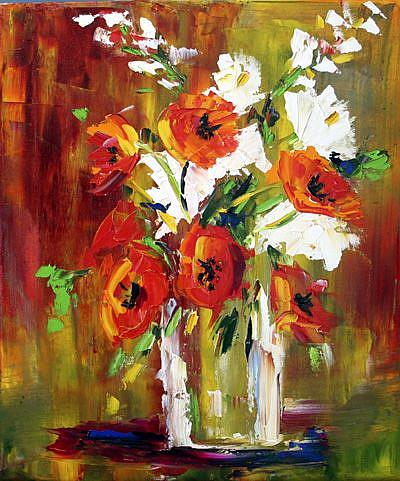 Art: Vase of Fall Red Poppies by Artist Laurie Justus Pace