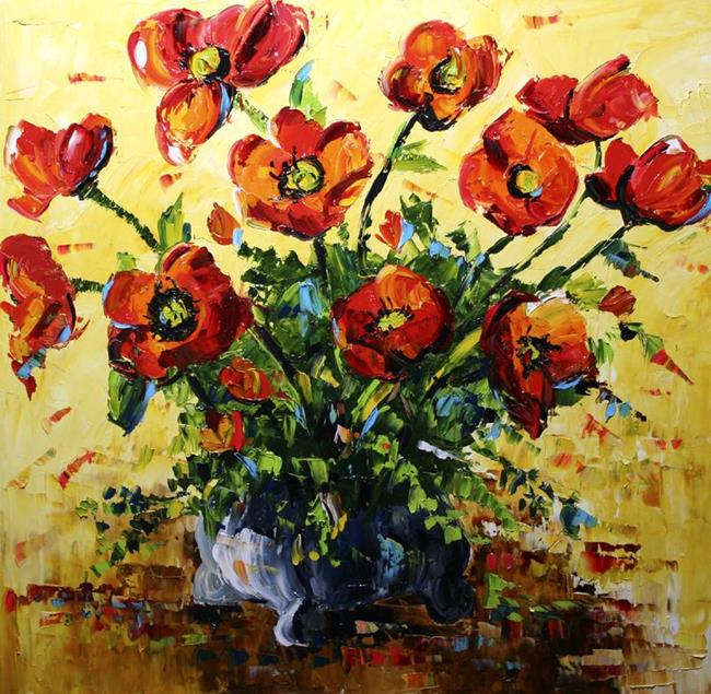 Art: Full Red blooms Poppies by Artist Laurie Justus Pace