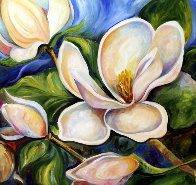 Art: Spring Magnolias One 2007 by Artist Laurie Justus Pace