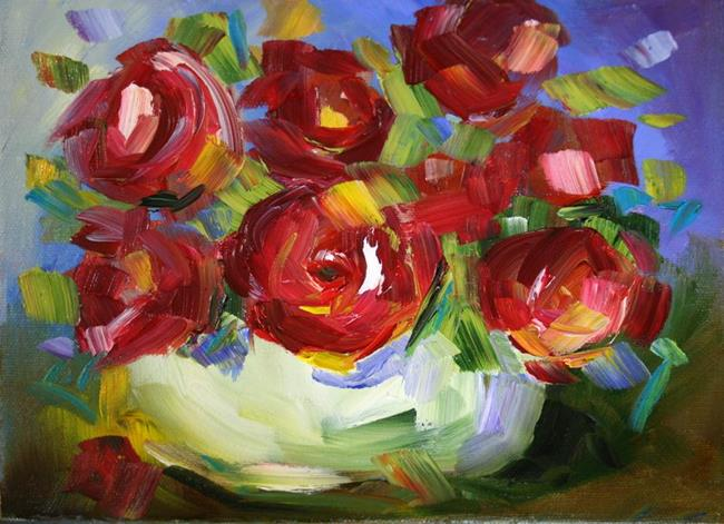 Art: Miniature Red Roses by Artist Laurie Justus Pace