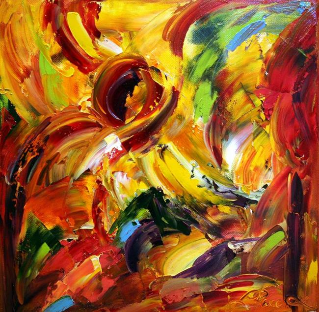 Art: Fall Sunflower Abstract by Artist Laurie Justus Pace