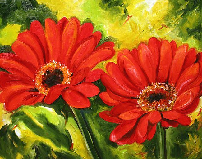 Art: Double Daisy by Artist Laurie Justus Pace