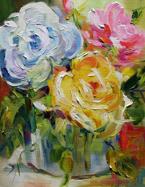 Art: Roses in a Bucket by Artist Laurie Justus Pace