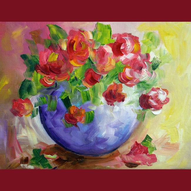Art: Blue Bowl Red Roses by Artist Laurie Justus Pace