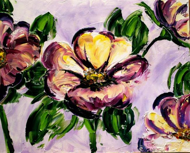 Art: Purple Flowers Fourth in the Series of Backyard Blooms by Artist Laurie Justus Pace