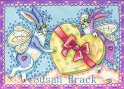 Art: FLUTTERBUNS SENDING VALENTINE HEARTS AND HARES by Artist Susan Brack