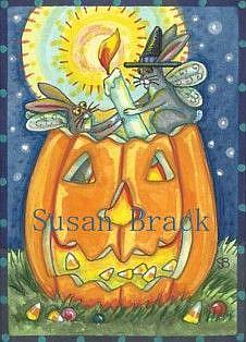 Art: FLUTTERBUN LIGHTING OF THE HALLOWEEN JACK by Artist Susan Brack