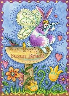 Art: FLUTTERBUN BIRD BATH MUSICIAN by Artist Susan Brack