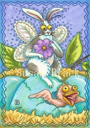 Art: FLUTTERBUN EGG SITTER by Artist Susan Brack