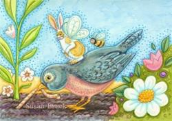 Art: FLUTTERBUN RIDING ROBIN RED BREAST by Artist Susan Brack