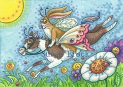 Art: Flutterbun Rabbit - OFF TO THE HORSEFLY RACES by Artist Susan Brack