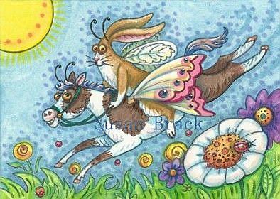 Art: FLUTTERBUN OFF TO THE HORSEFLY RACES by Artist Susan Brack