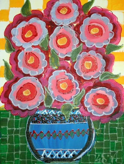 Art: RED ROSES IN THE BLUE VASE-sold by Artist LUIZA VIZOLI