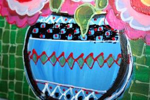 Detail Image for art RED ROSES IN THE BLUE VASE-sold