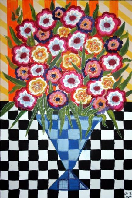 Art: HAPPY ROSES IN A BLUE VASE sold by Artist LUIZA VIZOLI