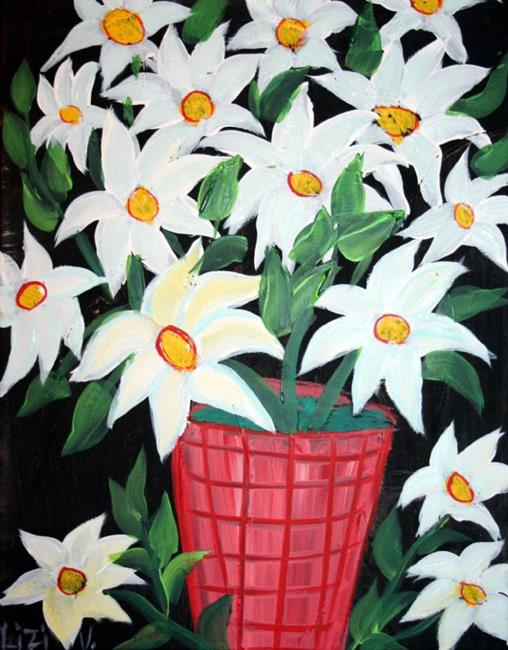 Art: WHITE FLOWERS IN A RED VASE-sold by Artist LUIZA VIZOLI