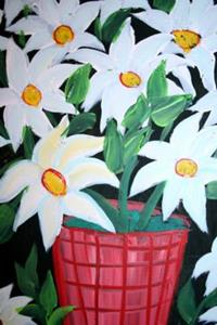 Detail Image for art WHITE FLOWERS IN A RED VASE-sold