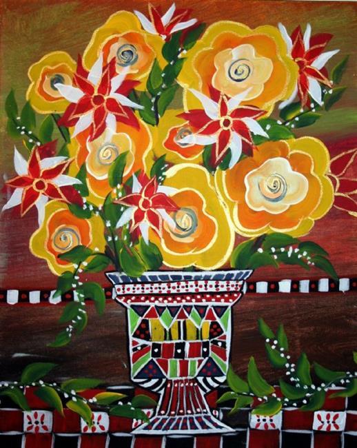 Art: YELLOW FLOWERS-sold by Artist LUIZA VIZOLI