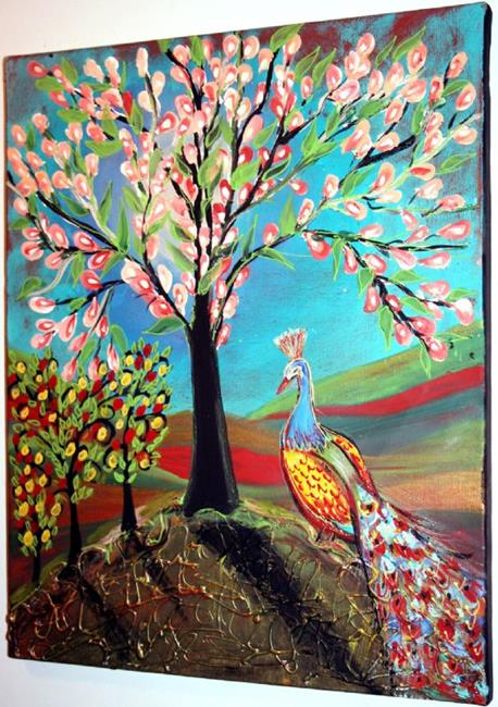 Art: PEACOCK &RED APPLES &MAGNOLIA TREE-sold by Artist LUIZA VIZOLI