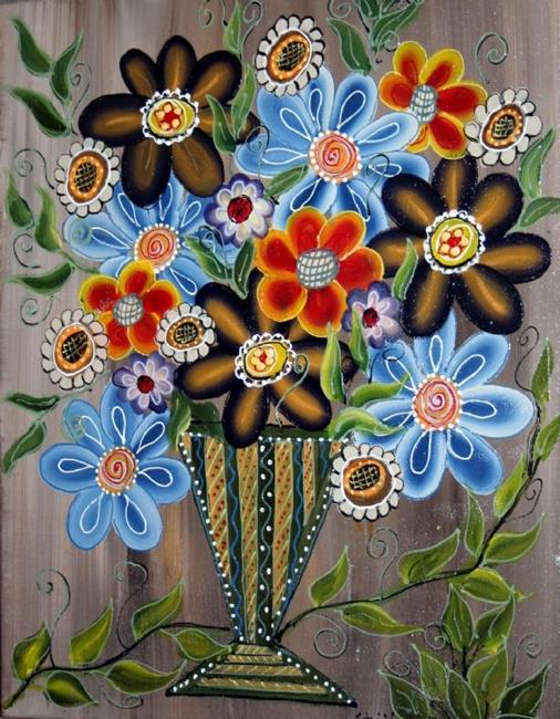 Art: RED BLUE YELLOW BOUQUET IN A RUSTIC POT-sold by Artist LUIZA VIZOLI
