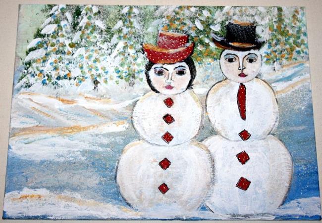 Art: SNOWMEN FAMILY-sold by Artist LUIZA VIZOLI