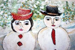 Detail Image for art SNOWMEN FAMILY-sold