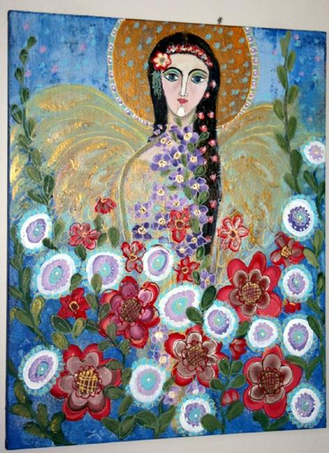 Art: FLOWERS' ANGEL-sold by Artist LUIZA VIZOLI