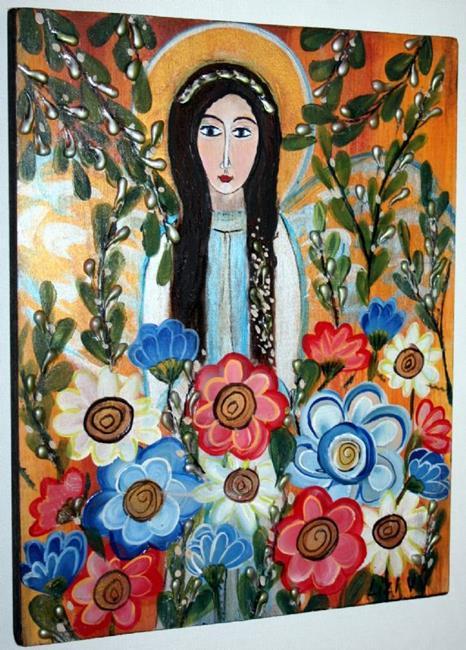 Art: ANGEL AND FLOWERS-sold by Artist LUIZA VIZOLI