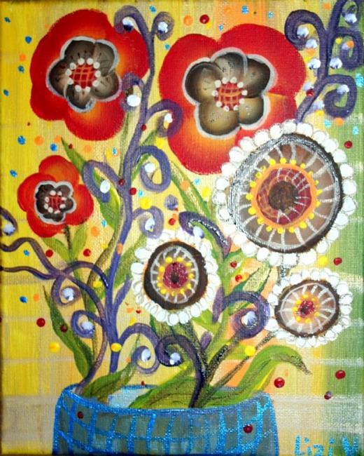 Art: BEAUTIFUL FLOWERS IN A BLUE VASE-sold by Artist LUIZA VIZOLI