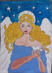Art: Angel of the Morning handpainted original banner by Artist Nancy Denommee