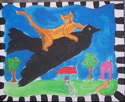 Art: Kitty Gets a Ride original painting by Artist Nancy Denommee